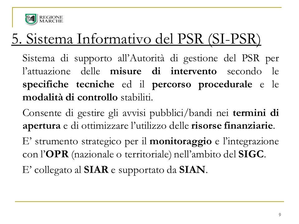 9 5. Sistema Informativo del PSR (SI-PSR) Sistema di supporto allAutorità di gestione del PSR per lattuazione delle misure di intervento secondo le sp