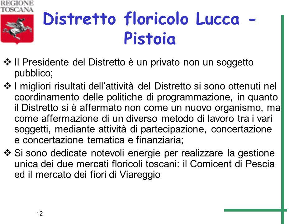 12 Distretto floricolo Lucca - Pistoia Il Presidente del Distretto è un privato non un soggetto pubblico; I migliori risultati dellattività del Distre