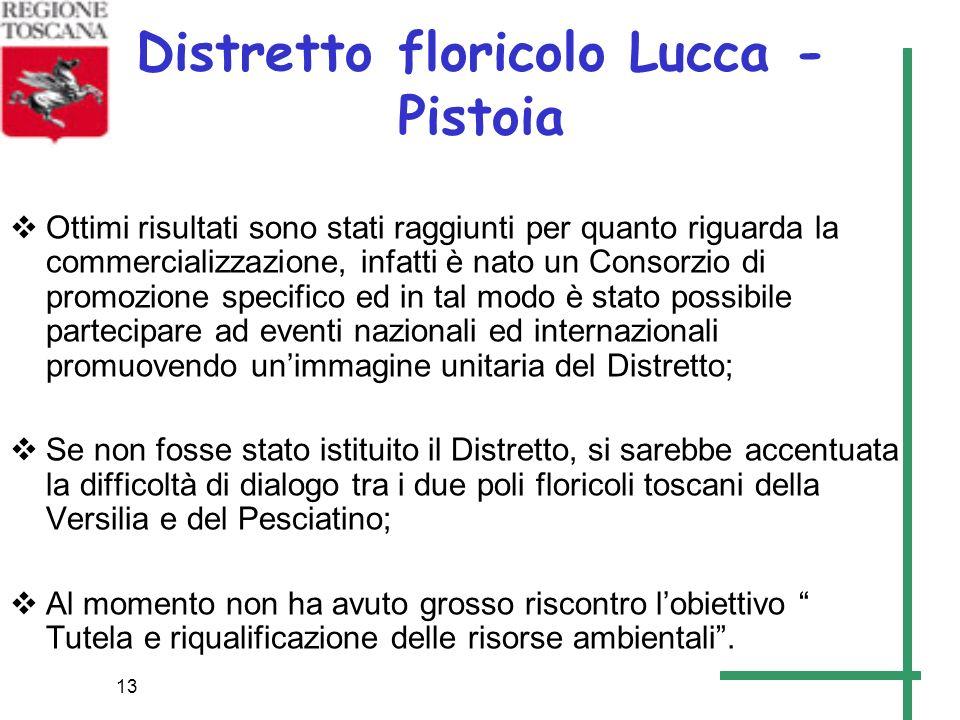 13 Distretto floricolo Lucca - Pistoia Ottimi risultati sono stati raggiunti per quanto riguarda la commercializzazione, infatti è nato un Consorzio d
