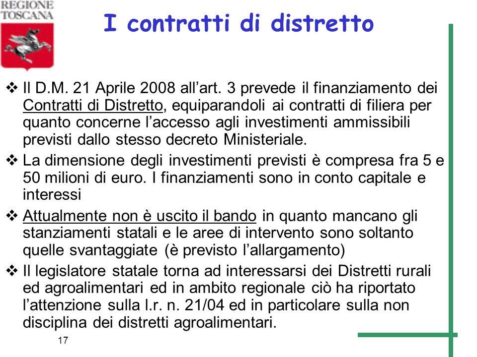 17 I contratti di distretto Il D.M. 21 Aprile 2008 allart. 3 prevede il finanziamento dei Contratti di Distretto, equiparandoli ai contratti di filier