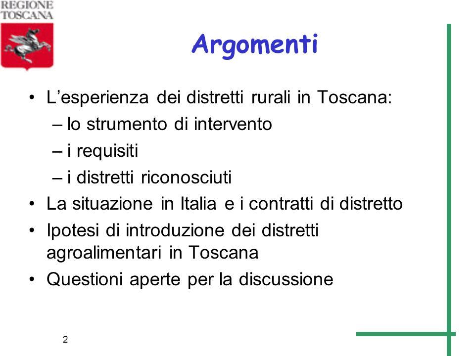 2 Argomenti Lesperienza dei distretti rurali in Toscana: –lo strumento di intervento –i requisiti –i distretti riconosciuti La situazione in Italia e