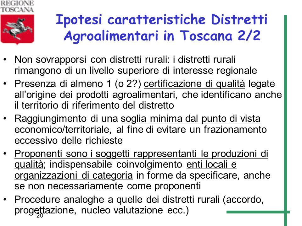 20 Ipotesi caratteristiche Distretti Agroalimentari in Toscana 2/2 Non sovrapporsi con distretti rurali: i distretti rurali rimangono di un livello su