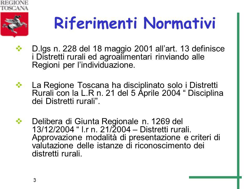 3 Riferimenti Normativi D.lgs n. 228 del 18 maggio 2001 allart. 13 definisce i Distretti rurali ed agroalimentari rinviando alle Regioni per lindividu