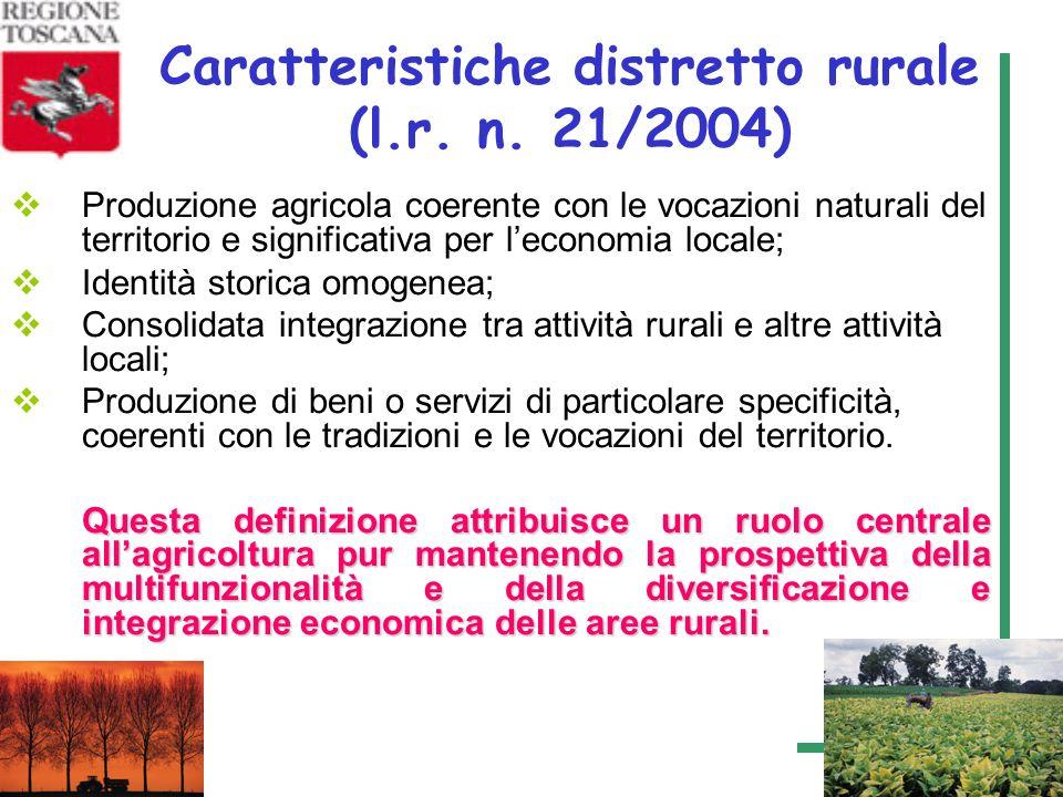 4 Caratteristiche distretto rurale (l.r. n. 21/2004) Produzione agricola coerente con le vocazioni naturali del territorio e significativa per leconom