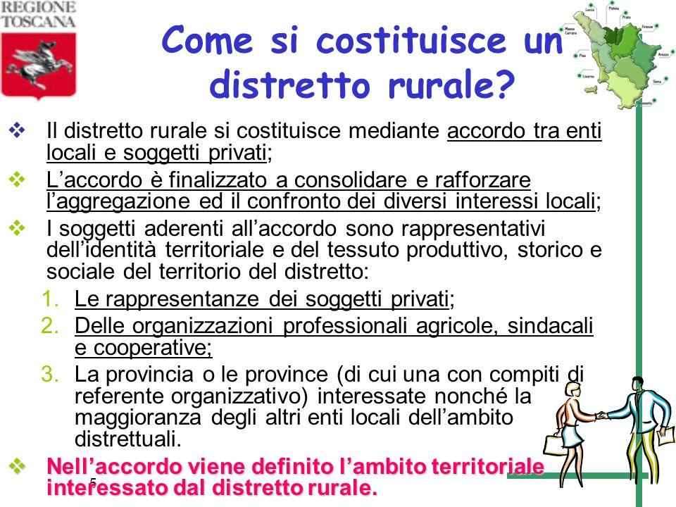 5 Come si costituisce un distretto rurale? Il distretto rurale si costituisce mediante accordo tra enti locali e soggetti privati; Laccordo è finalizz