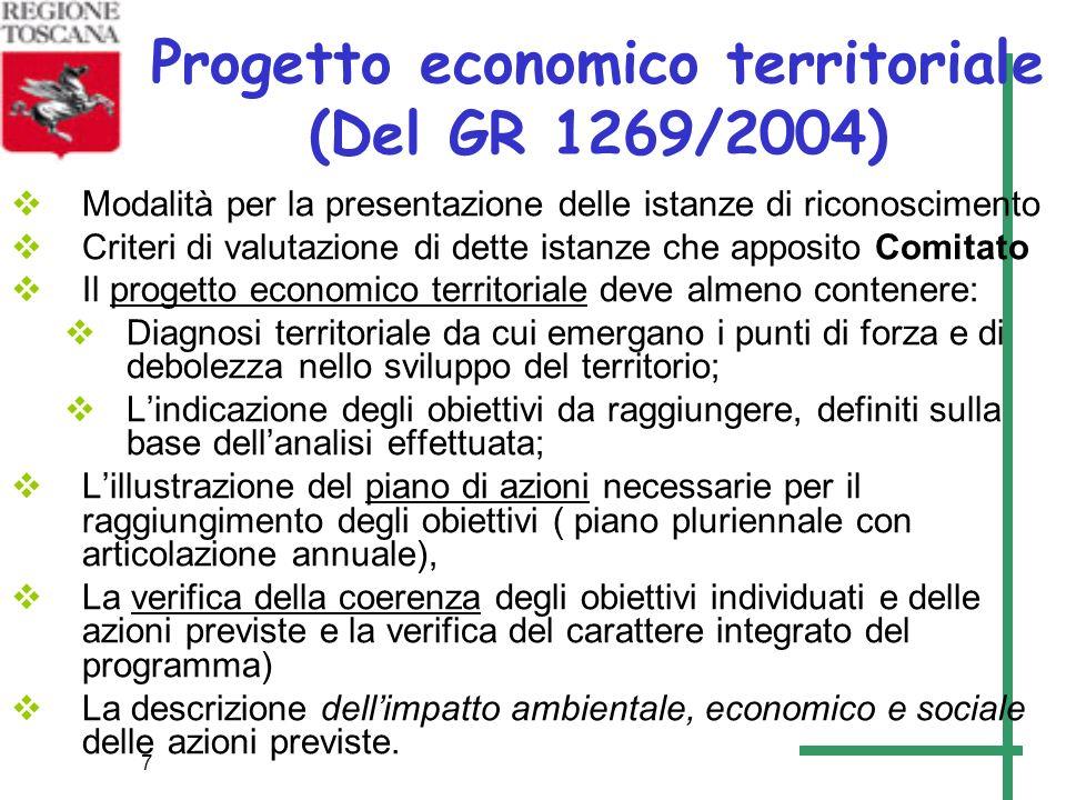 7 Progetto economico territoriale (Del GR 1269/2004) Modalità per la presentazione delle istanze di riconoscimento Criteri di valutazione di dette ist