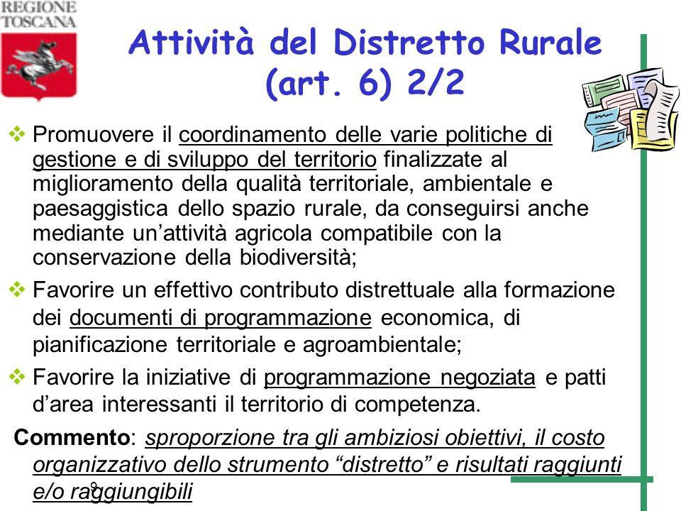 9 Attività del Distretto Rurale (art. 6) 2/2 Promuovere il coordinamento delle varie politiche di gestione e di sviluppo del territorio finalizzate al