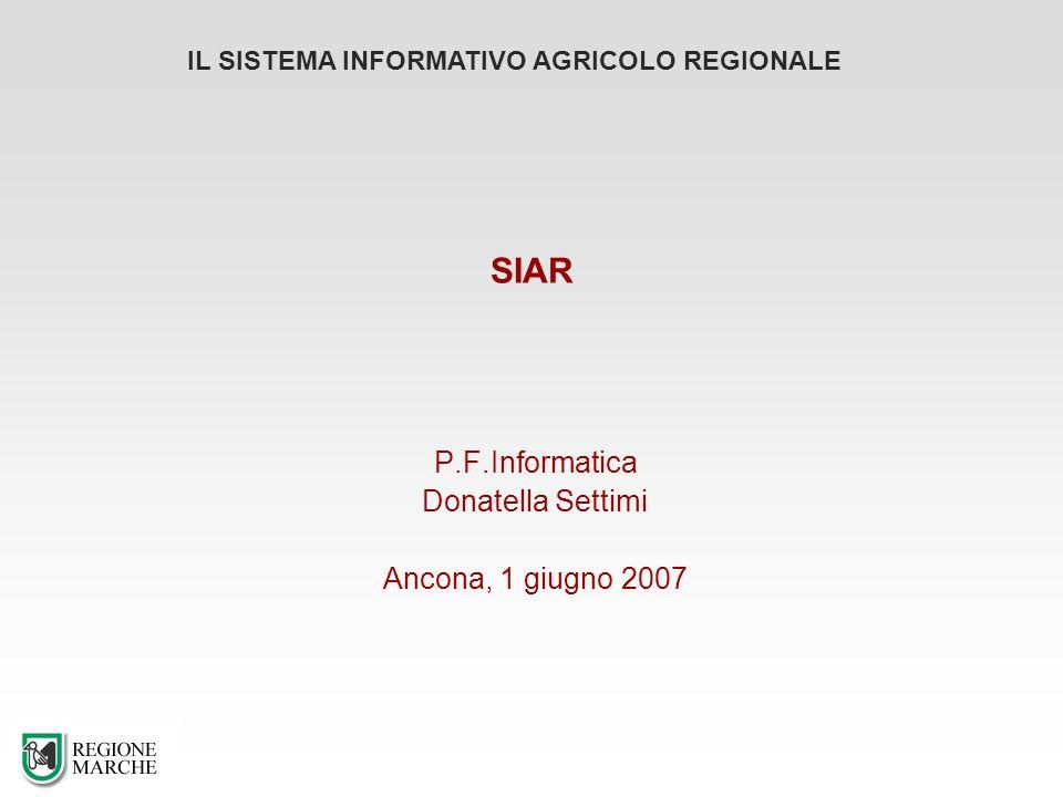 SIAR P.F.Informatica Donatella Settimi Ancona, 1 giugno 2007 IL SISTEMA INFORMATIVO AGRICOLO REGIONALE