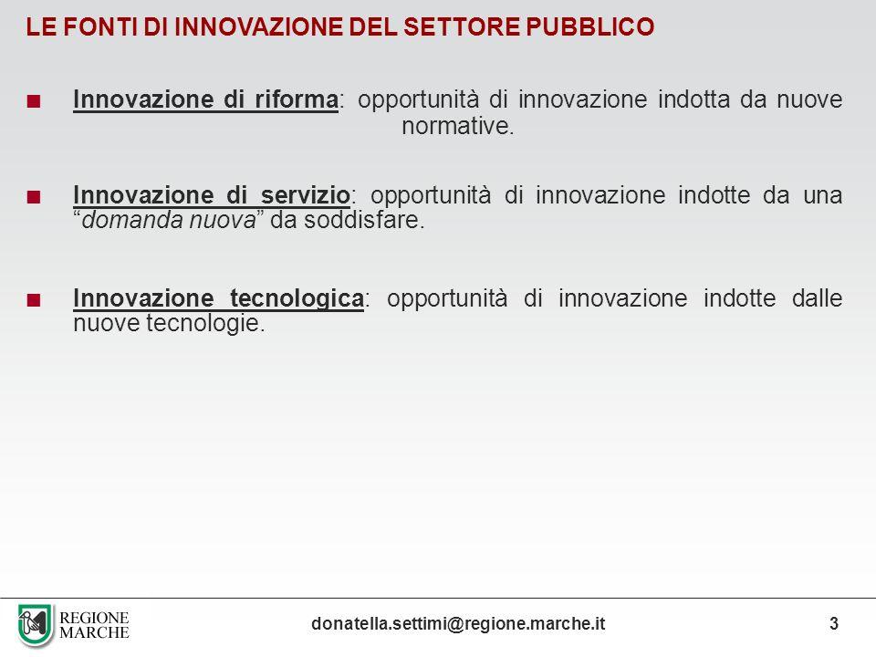LE FONTI DI INNOVAZIONE DEL SETTORE PUBBLICO Innovazione di riforma: opportunità di innovazione indotta da nuove normative. Innovazione di servizio: o