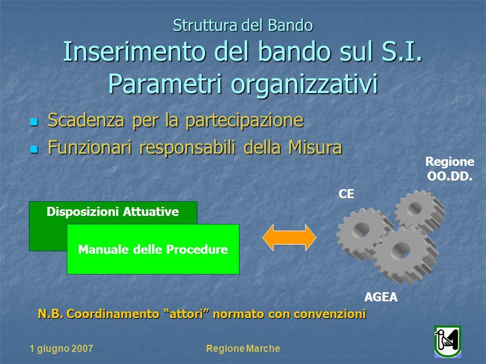 1 giugno 2007Regione Marche Struttura del Bando Inserimento del bando sul S.I.
