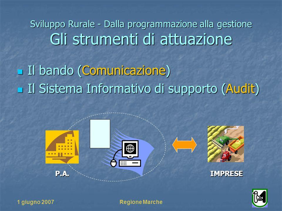 1 giugno 2007Regione Marche Sviluppo Rurale - Dalla programmazione alla gestione Gli strumenti di attuazione Il bando (Comunicazione) Il bando (Comunicazione) Il Sistema Informativo di supporto (Audit) Il Sistema Informativo di supporto (Audit) P.A.IMPRESE