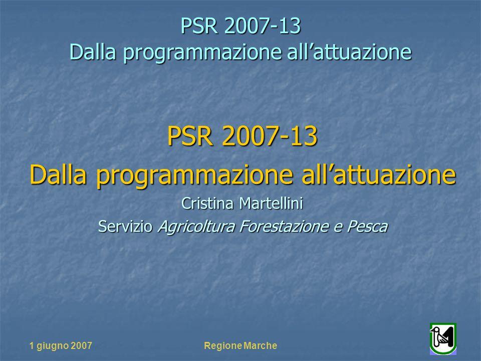 PSR 2007-13 Dalla programmazione allattuazione 1 giugno 2007Regione Marche PSR 2007-13 Dalla programmazione allattuazione Cristina Martellini Servizio Agricoltura Forestazione e Pesca