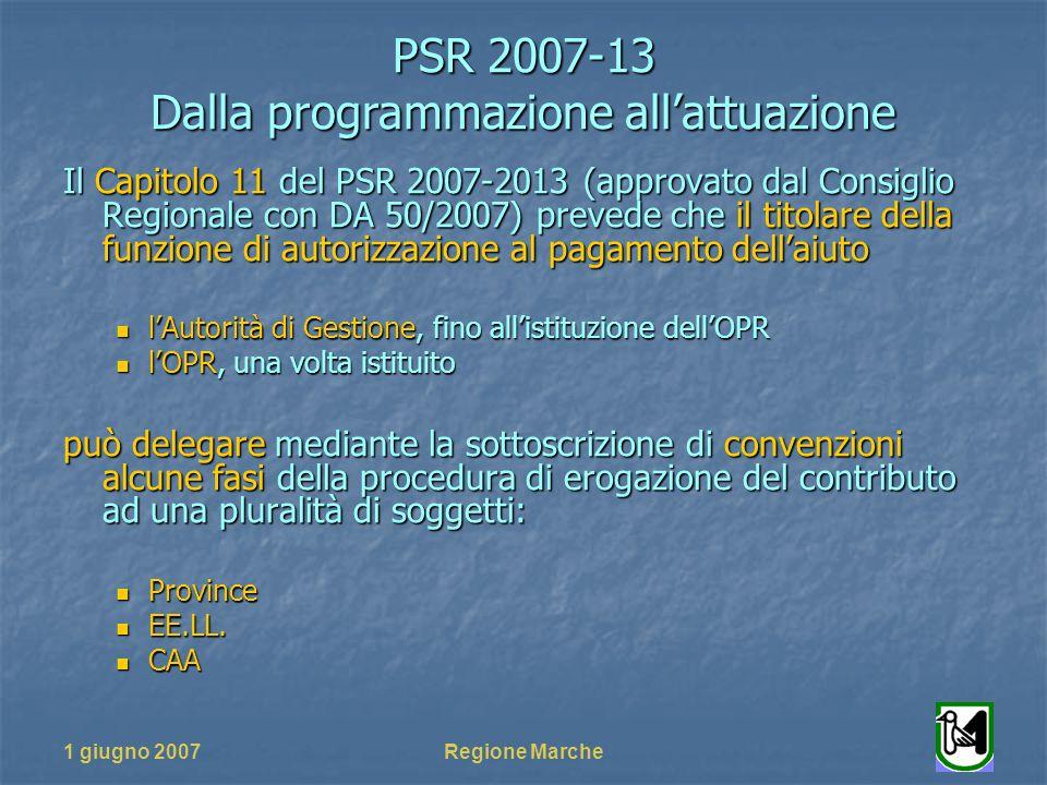 PSR 2007-13 Dalla programmazione allattuazione 1 giugno 2007Regione Marche Il Capitolo 11 del PSR 2007-2013 (approvato dal Consiglio Regionale con DA 50/2007) prevede che il titolare della funzione di autorizzazione al pagamento dellaiuto lAutorità di Gestione, fino allistituzione dellOPR lAutorità di Gestione, fino allistituzione dellOPR lOPR, una volta istituito lOPR, una volta istituito può delegare mediante la sottoscrizione di convenzioni alcune fasi della procedura di erogazione del contributo ad una pluralità di soggetti: Province Province EE.LL.