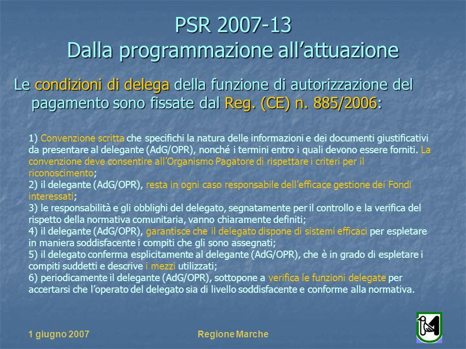 PSR 2007-13 Dalla programmazione allattuazione 1 giugno 2007Regione Marche Le condizioni di delega della funzione di autorizzazione del pagamento sono fissate dal Reg.