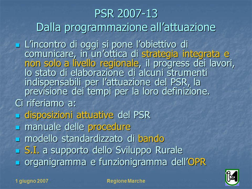 PSR 2007-13 Dalla programmazione allattuazione 1 giugno 2007Regione Marche Lincontro di oggi si pone lobiettivo di comunicare, in unottica di strategia integrata e non solo a livello regionale, il progress dei lavori, lo stato di elaborazione di alcuni strumenti indispensabili per lattuazione del PSR, la previsione dei tempi per la loro definizione.