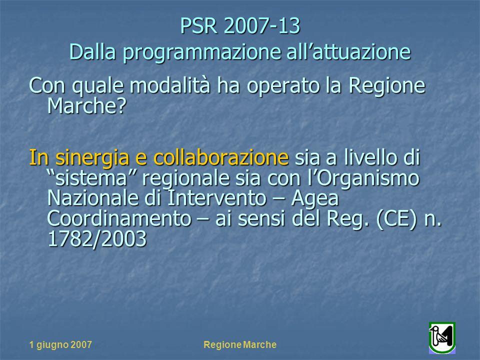 PSR 2007-13 Dalla programmazione allattuazione 1 giugno 2007Regione Marche Con quale modalità ha operato la Regione Marche.
