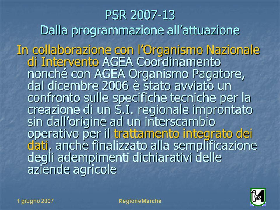 PSR 2007-13 Dalla programmazione allattuazione 1 giugno 2007Regione Marche In collaborazione con lOrganismo Nazionale di Intervento AGEA Coordinamento nonché con AGEA Organismo Pagatore, dal dicembre 2006 è stato avviato un confronto sulle specifiche tecniche per la creazione di un S.I.