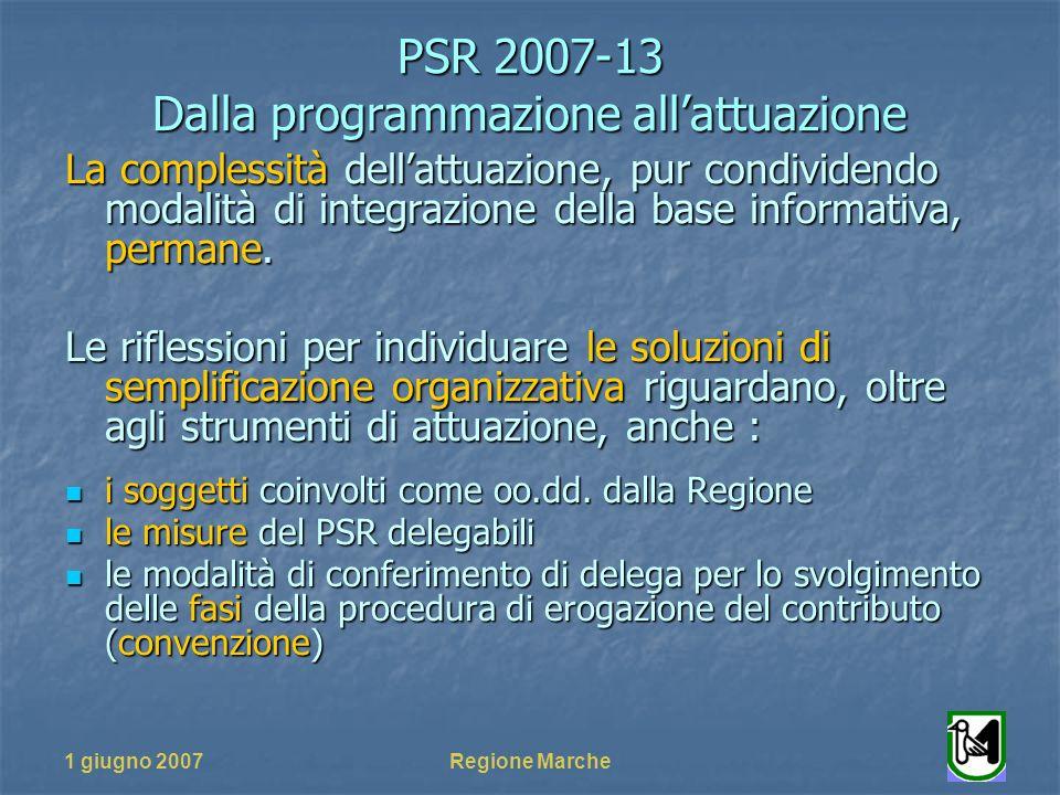 PSR 2007-13 Dalla programmazione allattuazione 1 giugno 2007Regione Marche La complessità dellattuazione, pur condividendo modalità di integrazione della base informativa, permane.