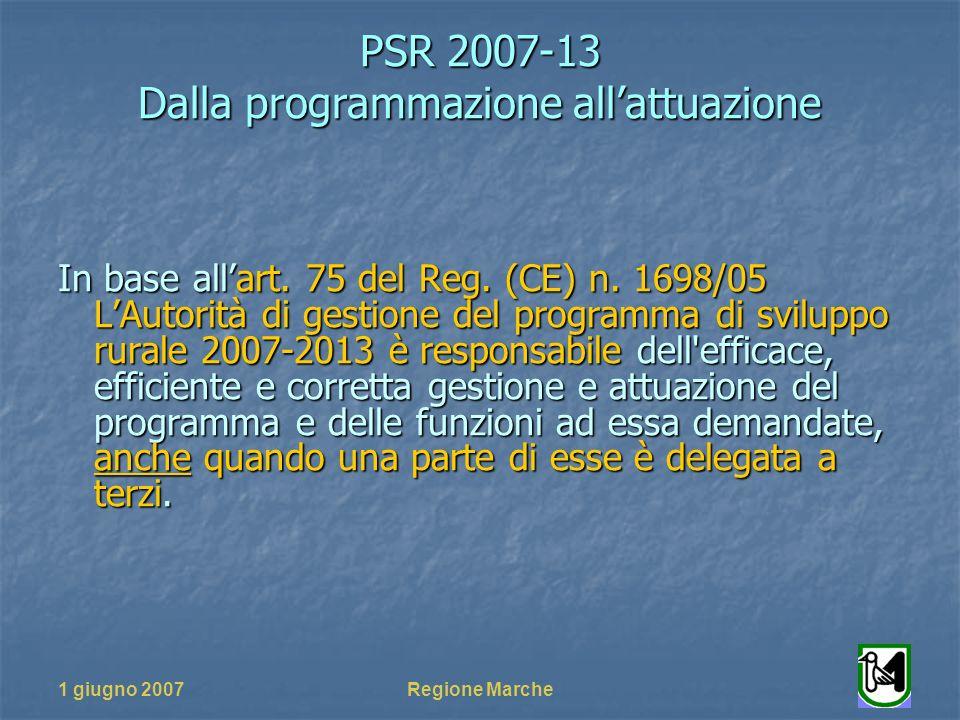 PSR 2007-13 Dalla programmazione allattuazione 1 giugno 2007Regione Marche In base allart.