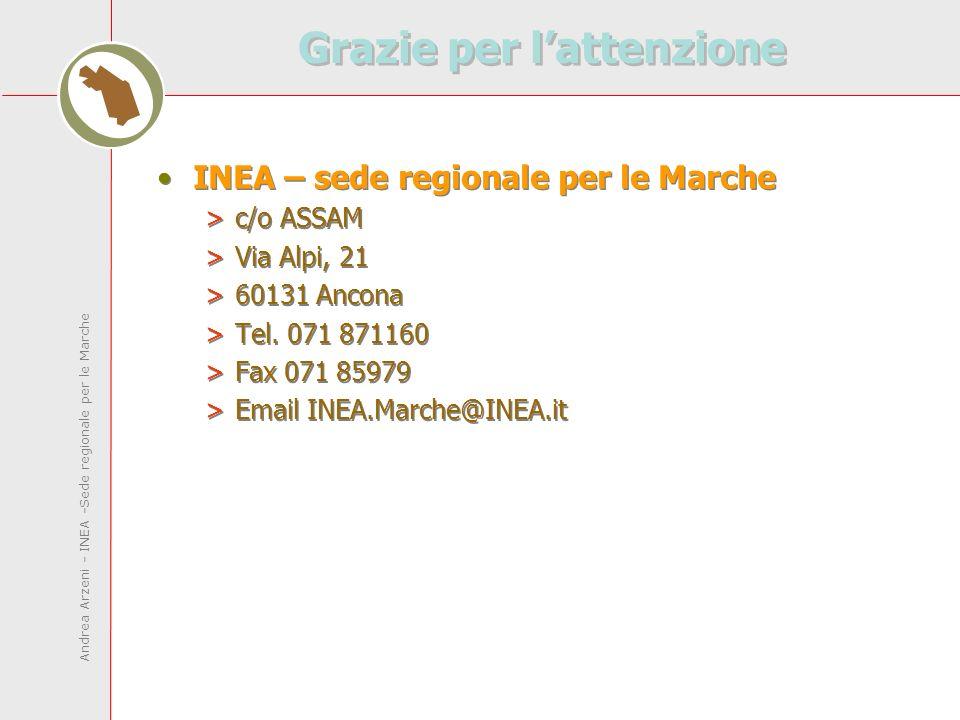Andrea Arzeni - INEA -Sede regionale per le Marche Grazie per lattenzione INEA – sede regionale per le Marche >c/o ASSAM >Via Alpi, 21 >60131 Ancona >Tel.