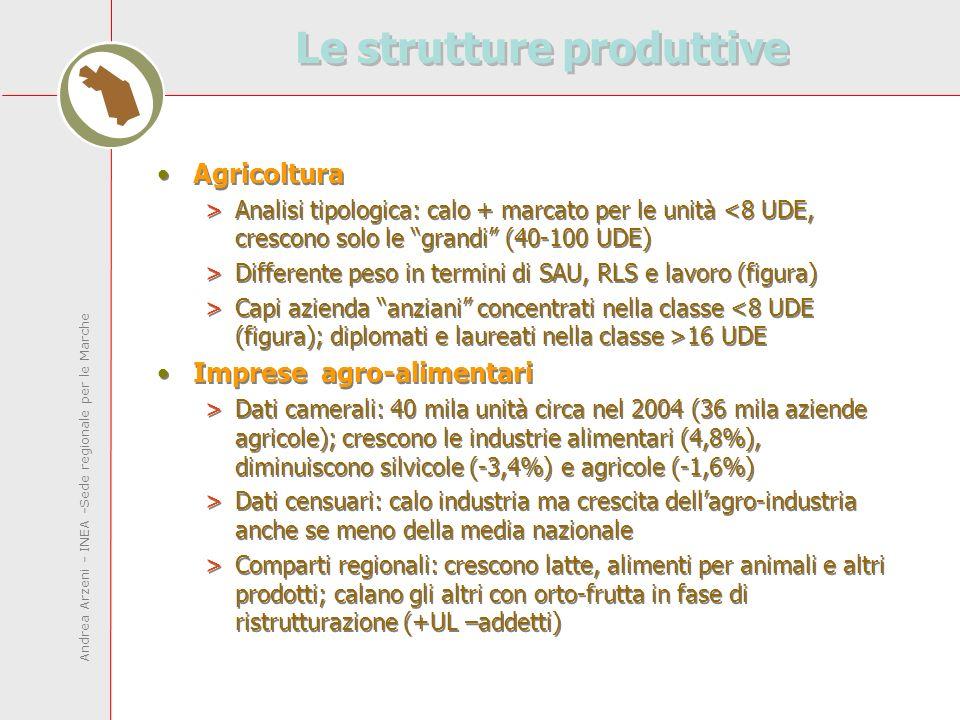 Andrea Arzeni - INEA -Sede regionale per le Marche Le strutture produttive Agricoltura >Analisi tipologica: calo + marcato per le unità <8 UDE, crescono solo le grandi (40-100 UDE) >Differente peso in termini di SAU, RLS e lavoro (figura) >Capi azienda anziani concentrati nella classe 16 UDE Imprese agro-alimentari >Dati camerali: 40 mila unità circa nel 2004 (36 mila aziende agricole); crescono le industrie alimentari (4,8%), diminuiscono silvicole (-3,4%) e agricole (-1,6%) >Dati censuari: calo industria ma crescita dellagro-industria anche se meno della media nazionale >Comparti regionali: crescono latte, alimenti per animali e altri prodotti; calano gli altri con orto-frutta in fase di ristrutturazione (+UL –addetti) Agricoltura >Analisi tipologica: calo + marcato per le unità <8 UDE, crescono solo le grandi (40-100 UDE) >Differente peso in termini di SAU, RLS e lavoro (figura) >Capi azienda anziani concentrati nella classe 16 UDE Imprese agro-alimentari >Dati camerali: 40 mila unità circa nel 2004 (36 mila aziende agricole); crescono le industrie alimentari (4,8%), diminuiscono silvicole (-3,4%) e agricole (-1,6%) >Dati censuari: calo industria ma crescita dellagro-industria anche se meno della media nazionale >Comparti regionali: crescono latte, alimenti per animali e altri prodotti; calano gli altri con orto-frutta in fase di ristrutturazione (+UL –addetti)
