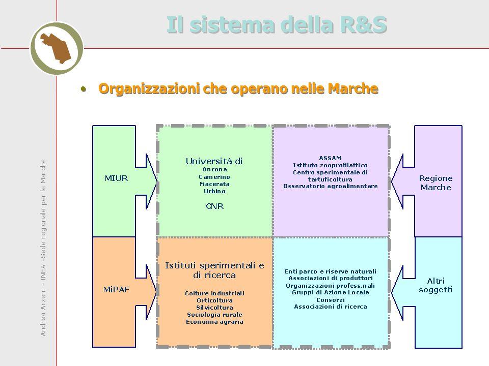 Andrea Arzeni - INEA -Sede regionale per le Marche Il sistema della R&S Organizzazioni che operano nelle Marche