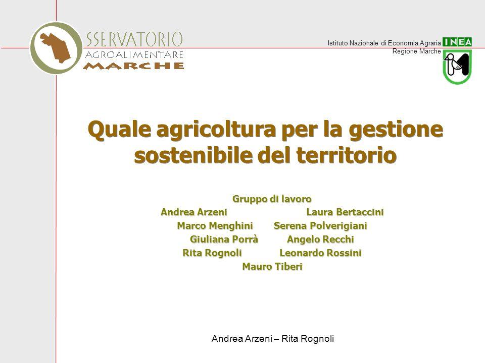 Istituto Nazionale di Economia Agraria Regione Marche Andrea Arzeni – Rita Rognoli Quale agricoltura per la gestione sostenibile del territorio Gruppo
