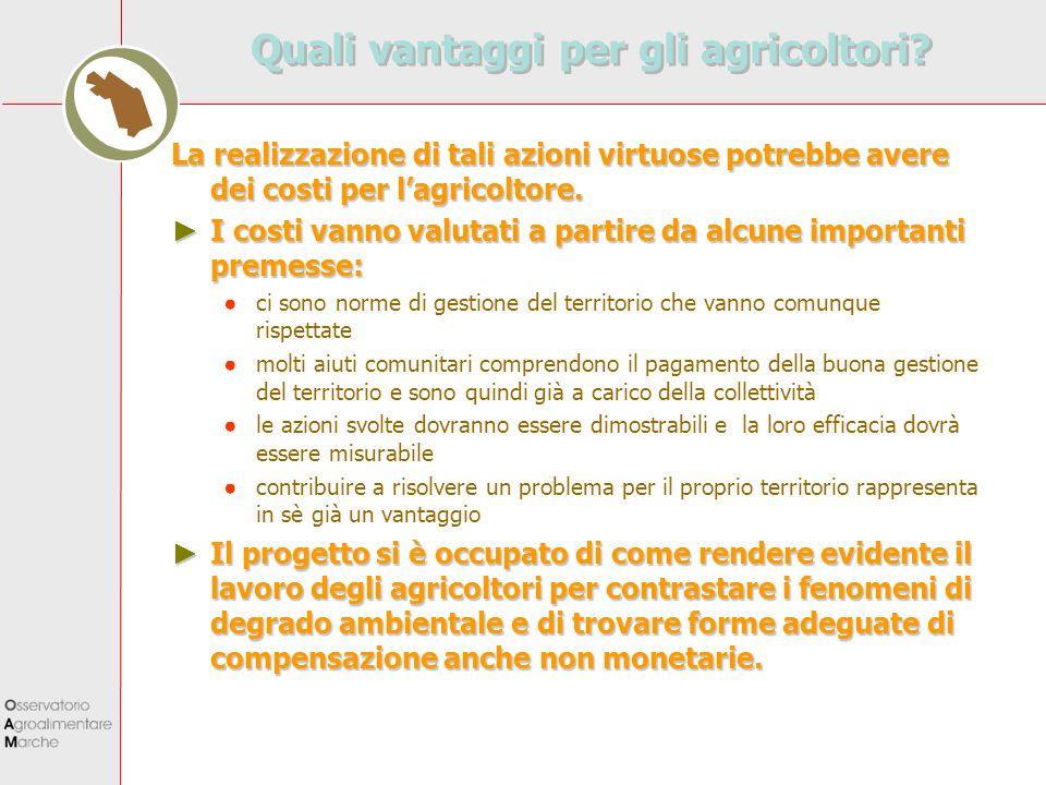 Quali vantaggi per gli agricoltori? La realizzazione di tali azioni virtuose potrebbe avere dei costi per lagricoltore. I costi vanno valutati a parti