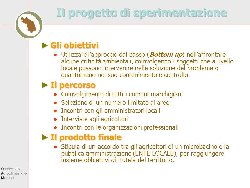 Il progetto di sperimentazione Gli obiettivi Gli obiettivi Utilizzare lapproccio dal basso (Bottom up) nellaffrontare alcune criticità ambientali, coi