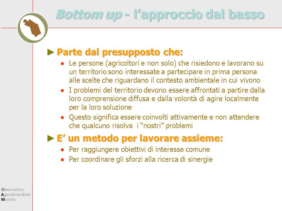 Buttom up - lapproccio dal basso Lapproccio dal basso è una modalità su cui lUnione Europea basa molte delle sue strategie (es.