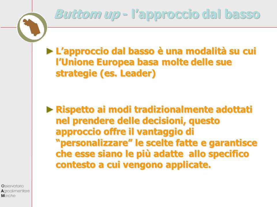 Buttom up - lapproccio dal basso Lapproccio dal basso è una modalità su cui lUnione Europea basa molte delle sue strategie (es. Leader) Lapproccio dal