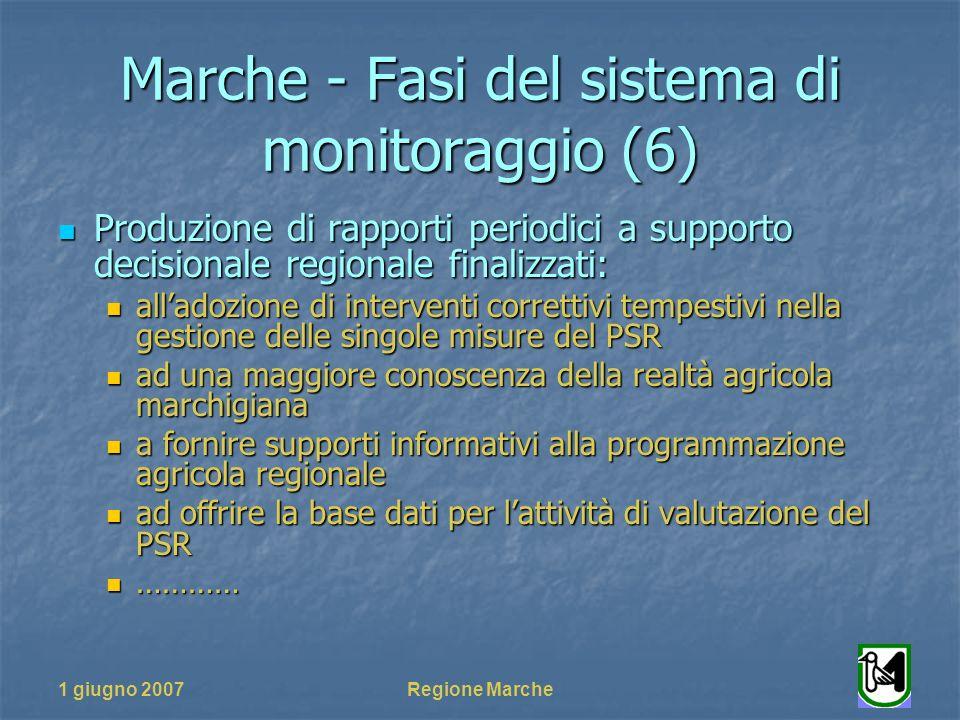 1 giugno 2007Regione Marche Marche - Fasi del sistema di monitoraggio (6) Produzione di rapporti periodici a supporto decisionale regionale finalizzat