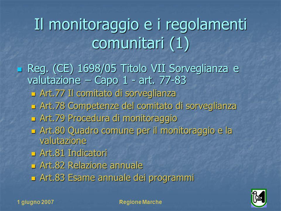 1 giugno 2007Regione Marche Il monitoraggio e i regolamenti comunitari (1) Reg. (CE) 1698/05 Titolo VII Sorveglianza e valutazione – Capo 1 - art. 77-
