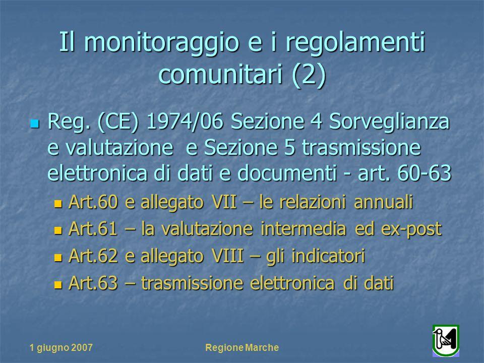1 giugno 2007Regione Marche Il monitoraggio e i regolamenti comunitari (2) Reg. (CE) 1974/06 Sezione 4 Sorveglianza e valutazione e Sezione 5 trasmiss