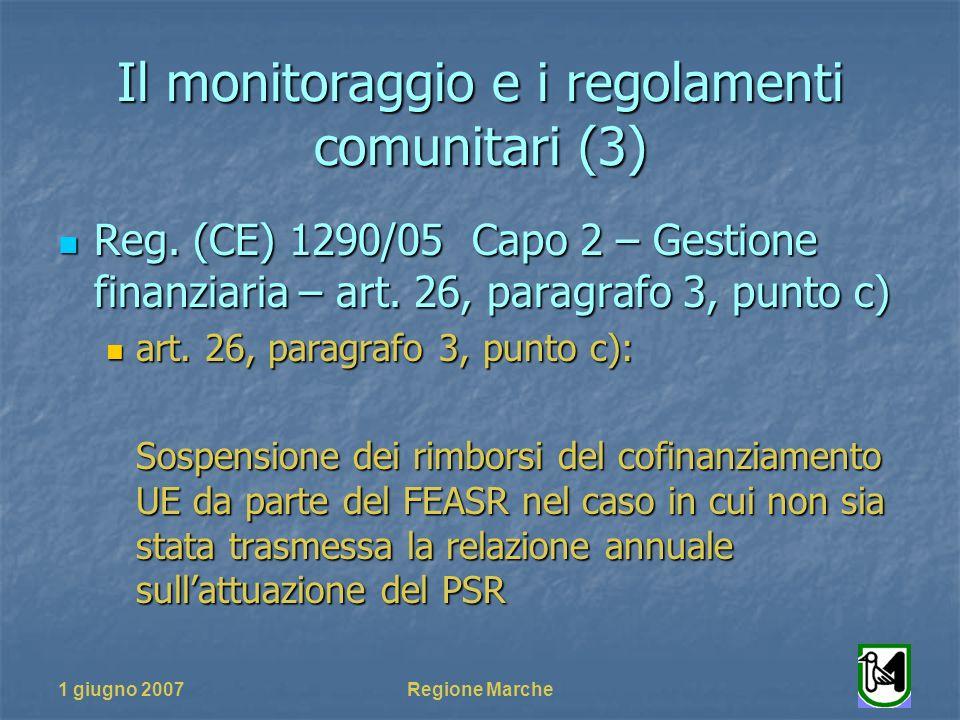 1 giugno 2007Regione Marche Il monitoraggio e i regolamenti comunitari (3) Reg. (CE) 1290/05 Capo 2 – Gestione finanziaria – art. 26, paragrafo 3, pun