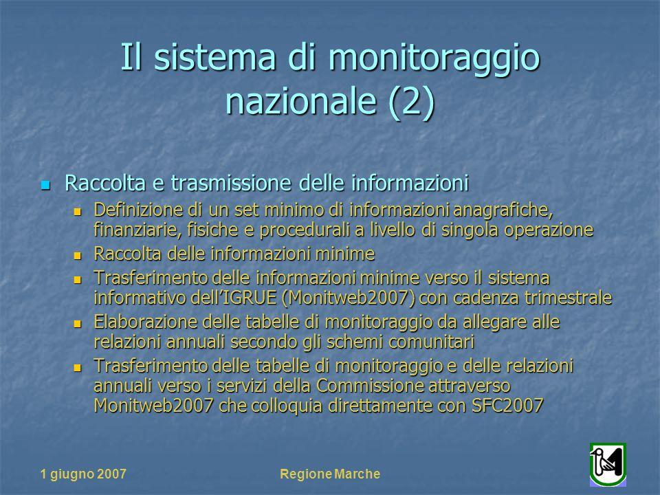 1 giugno 2007Regione Marche Il sistema di monitoraggio nazionale (2) Raccolta e trasmissione delle informazioni Raccolta e trasmissione delle informaz