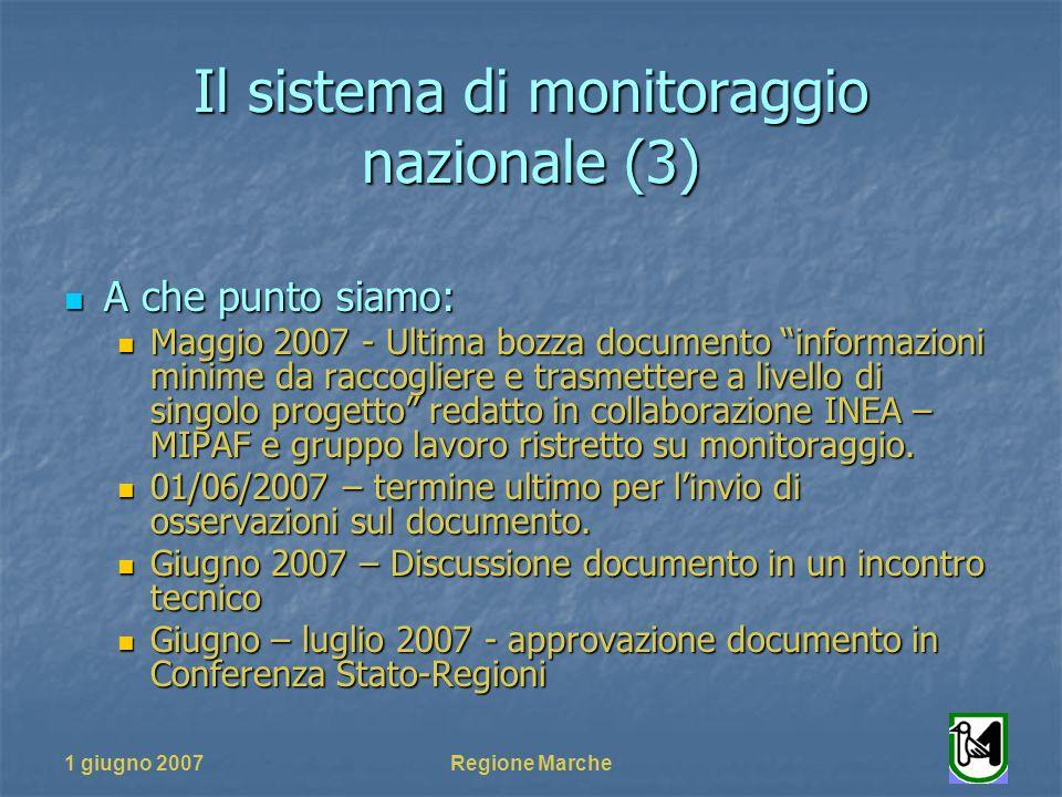1 giugno 2007Regione Marche Il sistema di monitoraggio nazionale (3) A che punto siamo: A che punto siamo: Maggio 2007 - Ultima bozza documento inform