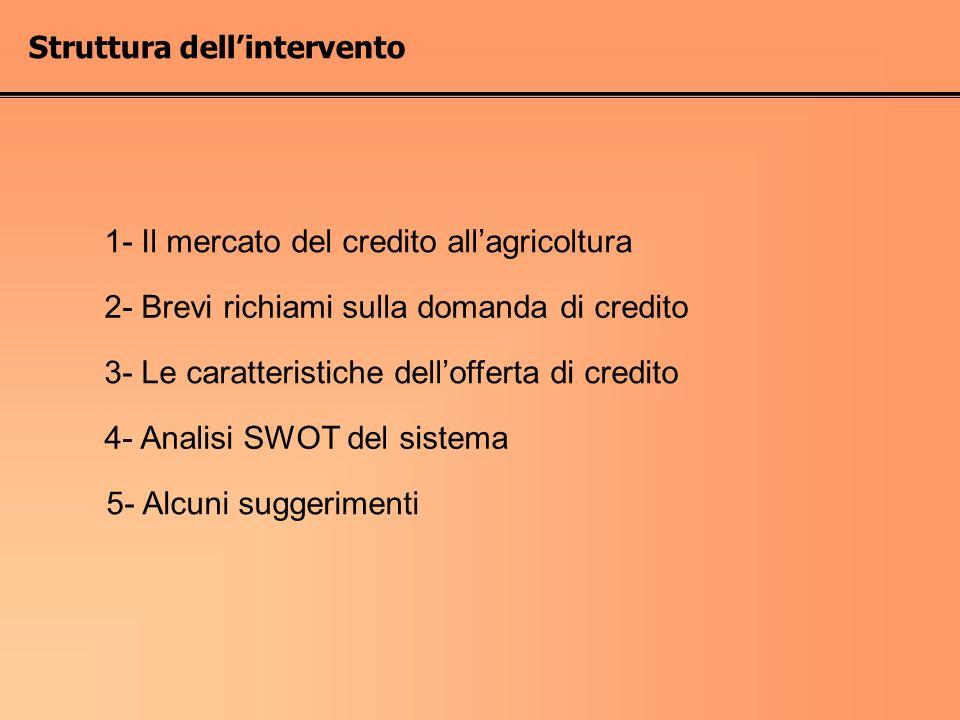 Struttura dellintervento 1- Il mercato del credito allagricoltura 2- Brevi richiami sulla domanda di credito 4- Analisi SWOT del sistema 5- Alcuni sug