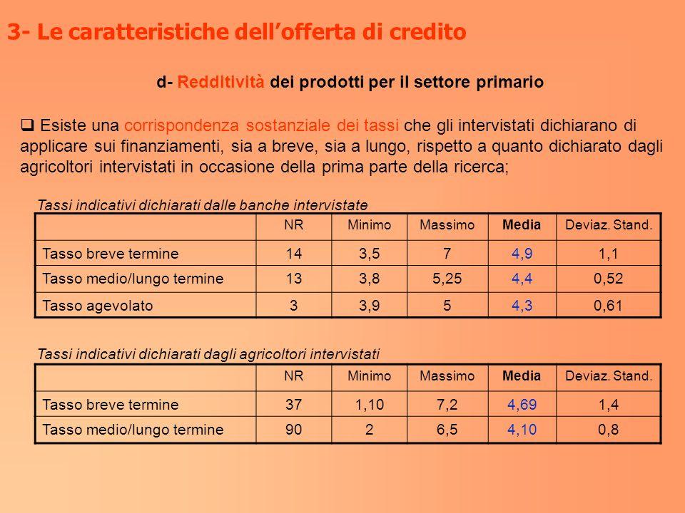 d- Redditività dei prodotti per il settore primario 3- Le caratteristiche dellofferta di credito Esiste una corrispondenza sostanziale dei tassi che g