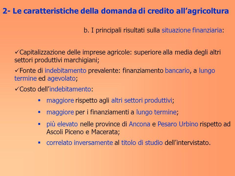 b. I principali risultati sulla situazione finanziaria: Capitalizzazione delle imprese agricole: superiore alla media degli altri settori produttivi m