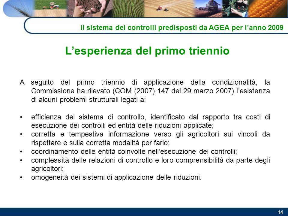 14 Lesperienza del primo triennio A seguito del primo triennio di applicazione della condizionalità, la Commissione ha rilevato (COM (2007) 147 del 29