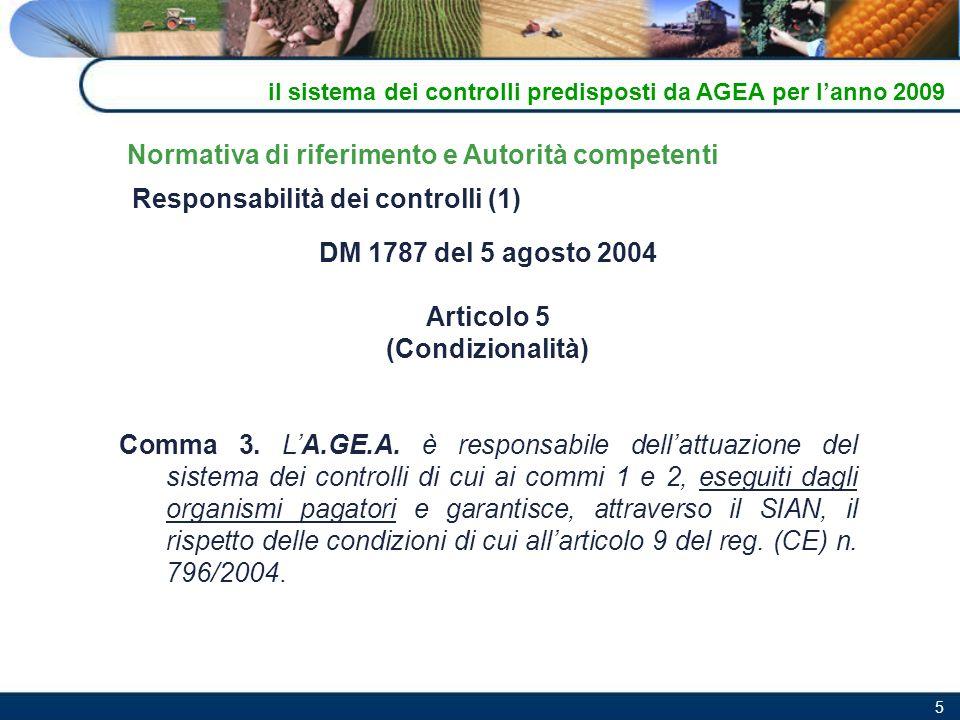 5 Responsabilità dei controlli (1) DM 1787 del 5 agosto 2004 Articolo 5 (Condizionalità) Comma 3. LA.GE.A. è responsabile dellattuazione del sistema d