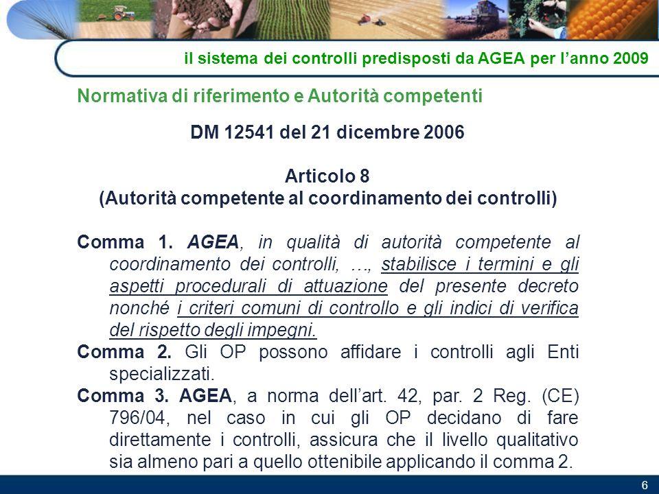 6 DM 12541 del 21 dicembre 2006 Articolo 8 (Autorità competente al coordinamento dei controlli) Comma 1. AGEA, in qualità di autorità competente al co