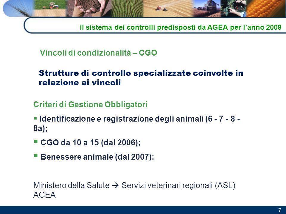 7 Strutture di controllo specializzate coinvolte in relazione ai vincoli Criteri di Gestione Obbligatori Identificazione e registrazione degli animali
