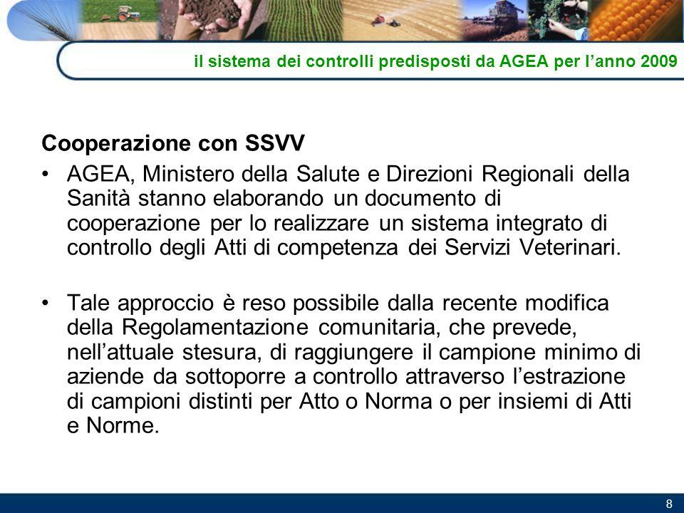 8 Cooperazione con SSVV AGEA, Ministero della Salute e Direzioni Regionali della Sanità stanno elaborando un documento di cooperazione per lo realizza