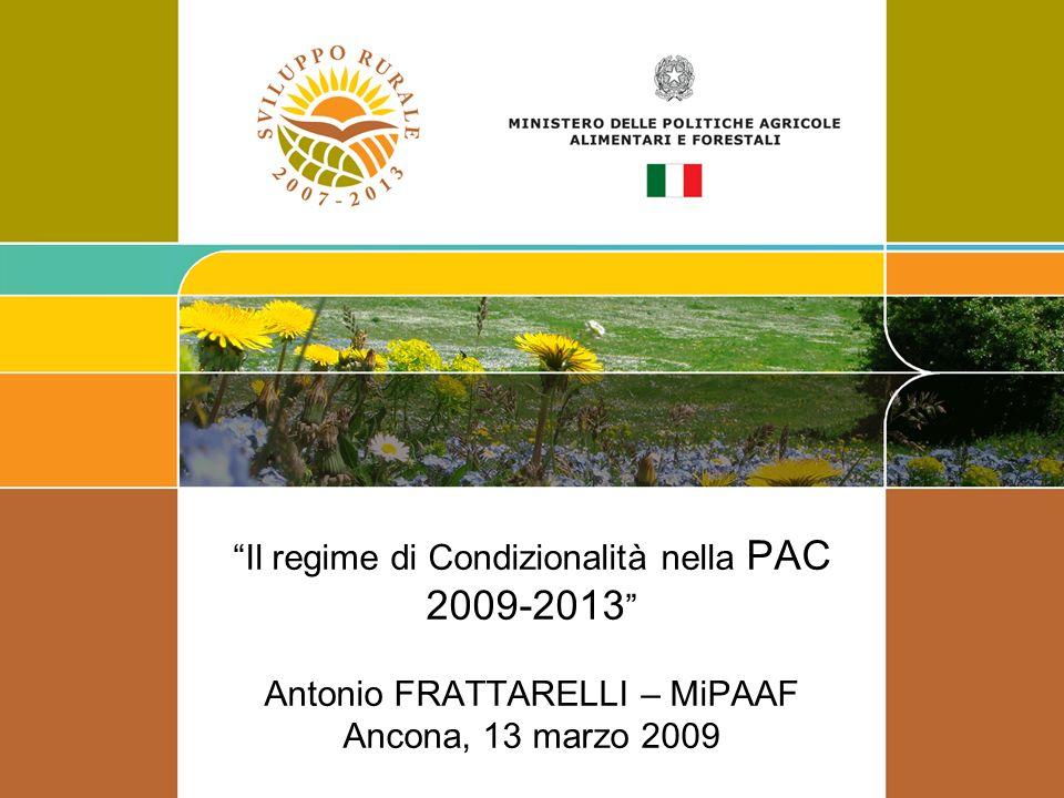 Il regime di Condizionalità nella PAC 2009-2013 Antonio FRATTARELLI – MiPAAF Ancona, 13 marzo 2009