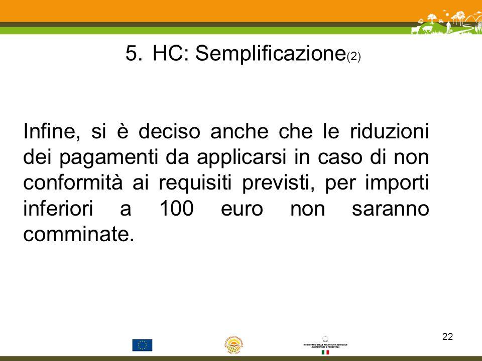 5.HC: Semplificazione (2) Infine, si è deciso anche che le riduzioni dei pagamenti da applicarsi in caso di non conformità ai requisiti previsti, per