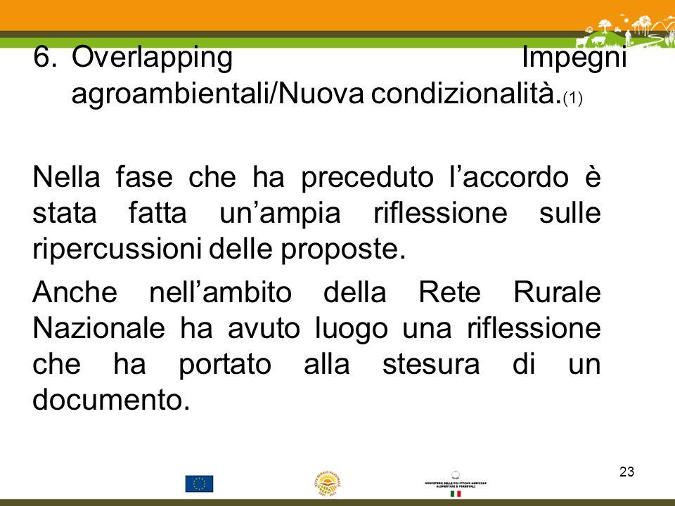 6.Overlapping Impegni agroambientali/Nuova condizionalità. (1) Nella fase che ha preceduto laccordo è stata fatta unampia riflessione sulle ripercussi