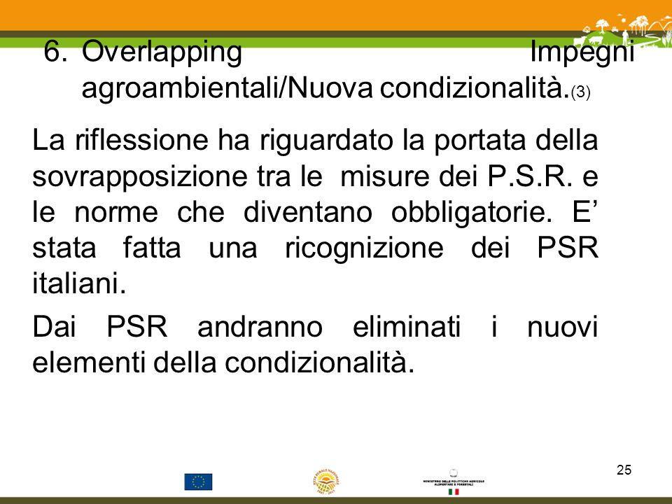 6.Overlapping Impegni agroambientali/Nuova condizionalità. (3) La riflessione ha riguardato la portata della sovrapposizione tra le misure dei P.S.R.