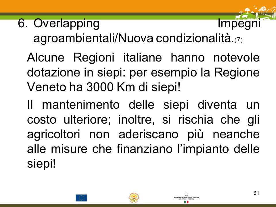 6.Overlapping Impegni agroambientali/Nuova condizionalità. (7) Alcune Regioni italiane hanno notevole dotazione in siepi: per esempio la Regione Venet